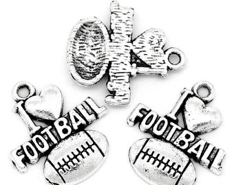 "5pcs. Antique Silver ""I love (heart) Football"" Sports Charms Pendants - 20 x 18mm"
