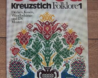 vintage 1972 cross stitch embroidery book Burda Kreuzstich Folklore 1  M 2018 D in German