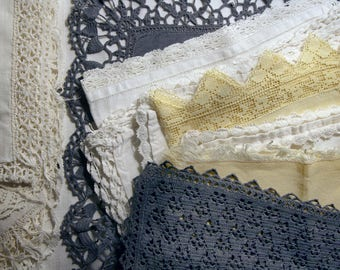 Vintage Job lot of 10 doilies + 7 linen and laces trims, crochet, bobbin lace, off-white, white, charcoal, yellow colors