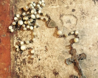 victorian handcarved mother of pearl rosary  SACRID heart MOP mother Mary no 5 religious metal love charm protection
