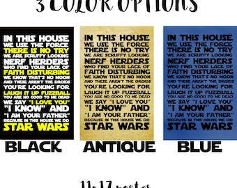 PRINTABLE - Star Wars - In This House 11x17 Print - 3 color options