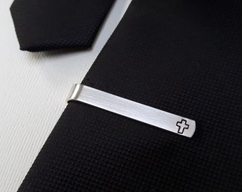 Cross Tie Bar • Cross Tie Clip • Religious • Christian • Pastor • Custom • Personalized • Church • Groom • Groomsmen • Dad • Fathers Day