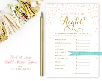 Pink and Gold Bridal Shower Games . The Price is Right Bridal Shower Game . Printable Instant Download . Gold Glitter Pink Confetti Hearts