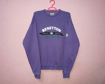 Rare!! Vintage Benetton Spellout Multicolor Embroidery Pullover Jumper Sweatshirt