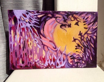 Small Painting Original Acrylic A World in Mauve