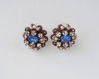 Sapphire Blue Earrings. Sapphire Princess Historically Inspired Jewelry. Victorian Style Cosplay. Fantasy Jewelry. Blue Studs Pearl Earrings