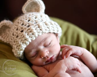 Crochet Toddler Hat with Ears, Crochet Toddler Hat, Crochet Hat, Natural Beige, Toddler Winter Hat, Winter Hat, Boys, Girls, MADE TO ORDER