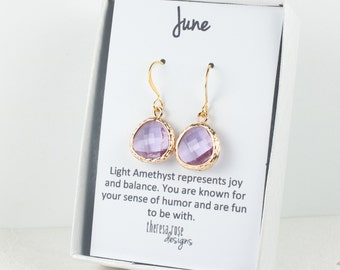 June Birthstone Earrings, Light Amethyst Gold Dangle Earrings, June Birthstone Gold Earrings, Birthstone Jewelry, Gold Earrings #807