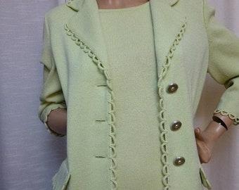 SPRING SALE Vintage St John Sweater Jacket and Sleeveless Top Set, Light Green, Silver Buttons, Santana Wool Knit, Lattice Edge Design, S/M