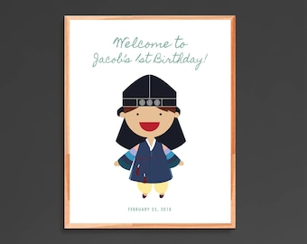 Korean First Birthday Sign hanbok boy Korean Dol Doljanchi printable welcome sign DIGITAL FILE