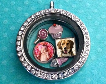 Personalized resin mini floating charm in 8mm silver bezel for your origami pendant owl locket circle or square available