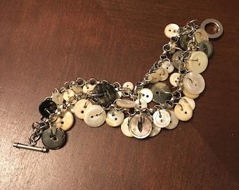 Two-strand vintage button bracelet