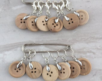 Wooden Button Stitch Markers, stitch markers, knitting supplies, progress markers, craft supplies, crochet markers