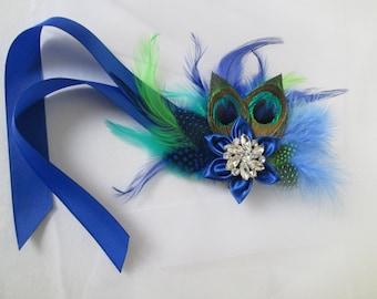 Royal Blue Wedding Bridal Corsage, Peacock Royal Blue Feather Corsage, Prom 2018 Corsage with Blue & Green Feathers, Bridesmaid Corsage