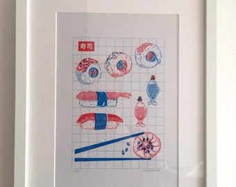 A4 Sushi Risograph Print