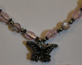 Pink & Black Butterfly Necklace