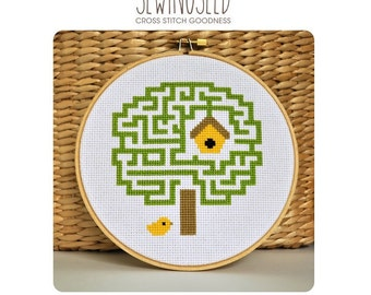 Cross Stitch Pattern, Maze Tree, Embroidery Pattern