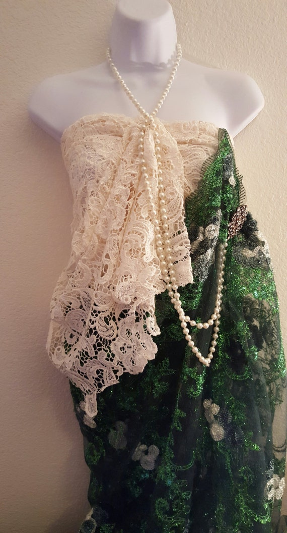 And 20's Dress Indian Saree Gown Sample Lace Inspired Set Sari Strapless Costume Gown Wedding Ivory Green Party Exotic Embroidered Bridal gx55w1qYO