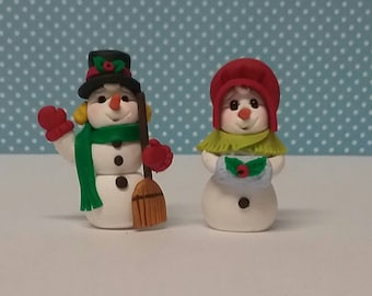 Hand Sculpted Polymer clay set of 2 Snowman/Snowlady Christmas Miniatures