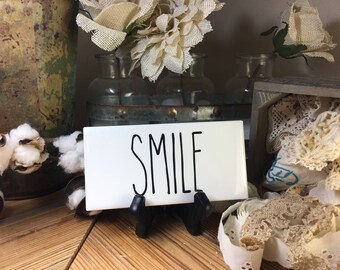 Rae Dunn Inspired SMILE Sign Farmhouse Style Home Decor Rae Dunn Sign Farmhouse Sign Fixer Upper Decor Farm Decor Shabby Chic