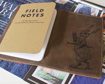 Field Notes Leather Cover - Alice Wonderland Rabbit - Customizable - Free Personalization