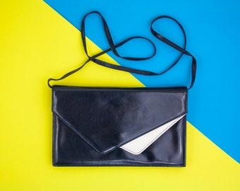 Vintage, Clutch Bag, Real Leather, 60s, Envelope, Navy, White, Handbag, Shoulder Bag, Removable Straps, Wedding, Prom, Evening, Geometric