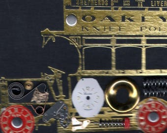 original art  aceo assemblage steampunk vintage car