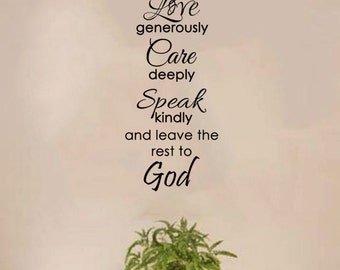 """Live Simply, Love Generously...and Leave the Rest to God Wall Decal - (11"""" x 29"""")"""