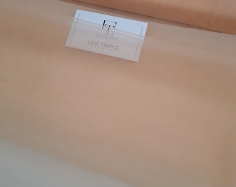 """Salmon pink tulle fabric, beige/pink tulle, lingerie tulle, evening dress tulle, flower dress tulle-59"""" (150 cm) wide-sold per meter TK9516"""
