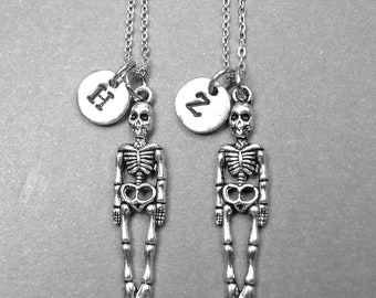 Best friend necklace, skeleton necklace, BFF necklace, friendship jewelry, friendship necklace, best friend gift, personalized necklace