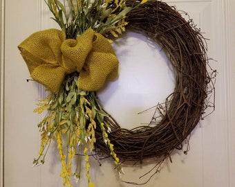Beautiful Branch Wreath - Yellow
