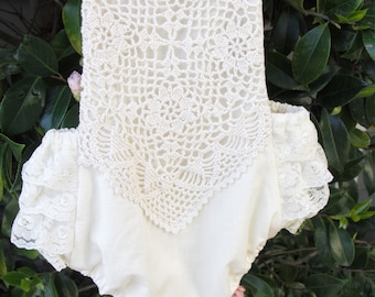 Vintage inspired crochet and lace trimmed ruffled romper