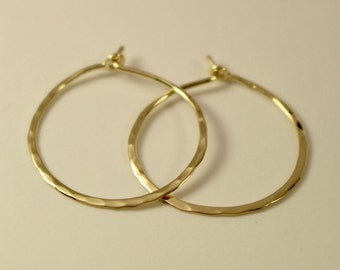 18k Hoop Earrings, 18k Gold Hoop Earrings, 18k Circle Earrings, 18k Hammered Hoop Earrings, 18k Gold Hoops, 18k Gold Earrings