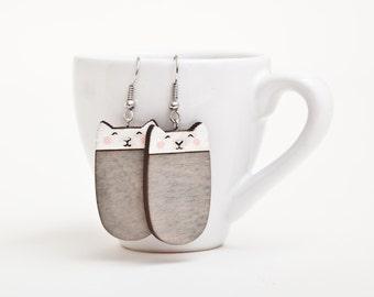 Cat Earrings, Gray Earrings, Nickel free dangling jewellery, Cat Drop Earrings, Cat Wooden Earrings, Funny Earrings, Cat Lover Gift