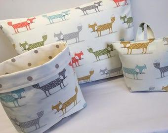 Doorstop, Cushion, Fabric Basket, Fox, Nursery Decor, Nursery Set, Fox Cushion
