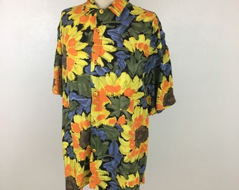 Vintage 90's Sunflower Print oversized floral print blouse women's size Large