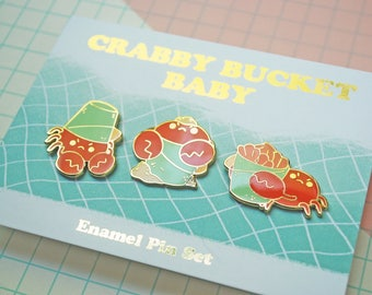 Crabby Bucket Baby Enamel Pin Set