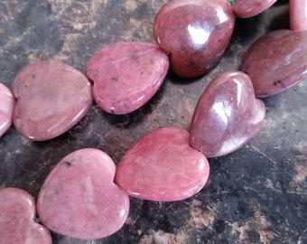1 Large Rhodonite Heart Shaped 20mm
