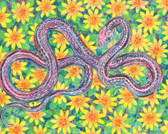 Art print, Snake, Daisy, Nature, Lovable, Pretty, Reptile, Eco-friendly, Flower, San Francisco, Endangered, Garter Snake, Floral, Pattern