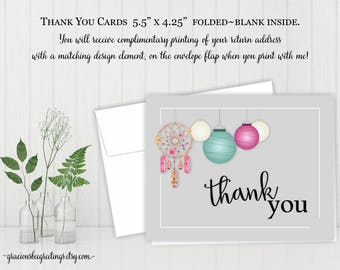 Thank You Notes, Thank You Cards, Thank You Stationery, Birthday, Bridal, Baby Shower, Digital, Printable TY605