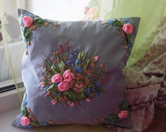 Ribbon Embroidered Pillow Cover