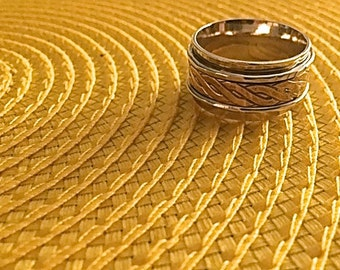 Men's Brass and Sterling Ring Size 12.5