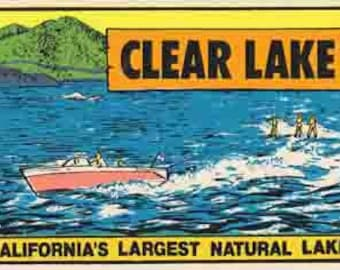 Vintage Style Clear Lake California   Travel Decal sticker