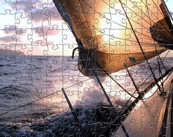 Sunrise Sail Zen Puzzle - Hand crafted, eco-friendly, American made artisanal wooden jigsaw puzzle