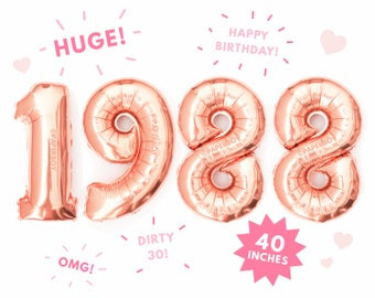 "1988 Balloons Rose Gold - Giant Numbers Number Balloon - 40"" - Mylar Foil Megaloon - Letter - Large Jumbo 3' foot Helium 30th Birthday"