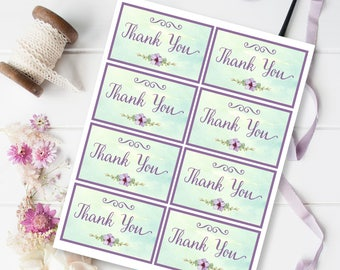 Mint and Mauve Thank You Cards