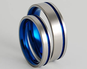 Wedding Band Set , Titanium Rings , Wedding Bands , Promise Rings , The Cosmos Bands in Nightfall Blue