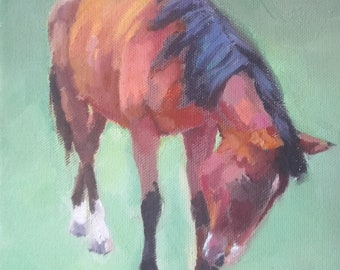 Oil on Canvas French Horse original painting foal pony chestnut bay