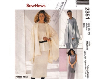 Womens Sewing Pattern Cape Dress Top Pants Skirt McCalls 2351 Wardrobe Pattern Mix & Match Size 12 14 UNCUT