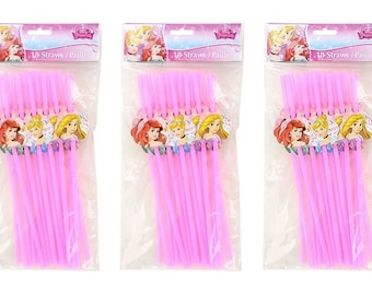 Disney Princess Flexible Drinking Straws, 3-Pack (54-Piece) Party Set